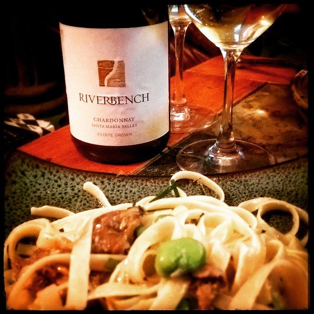 Chanterelle & fava tagliatelle with a 2012 @riverbench_winery estate chardonnay.…