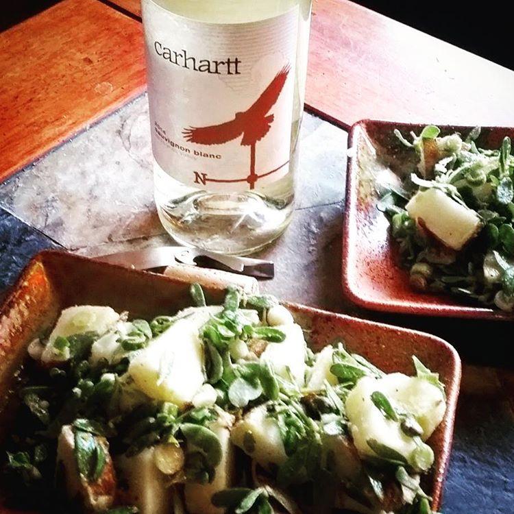 Potato amp purslane salad with a carharttvineyard Sav Blanc recipehellip