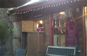 "Carhartt Vineyards patio at the ""Worlds Smallest Tasting Room"" Los Olivos California"