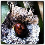 Roasted Golden beet with olive oil in aluminum foil