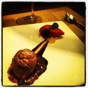 Julian Serrano Molten Chocolate cake with blood orange sorbet