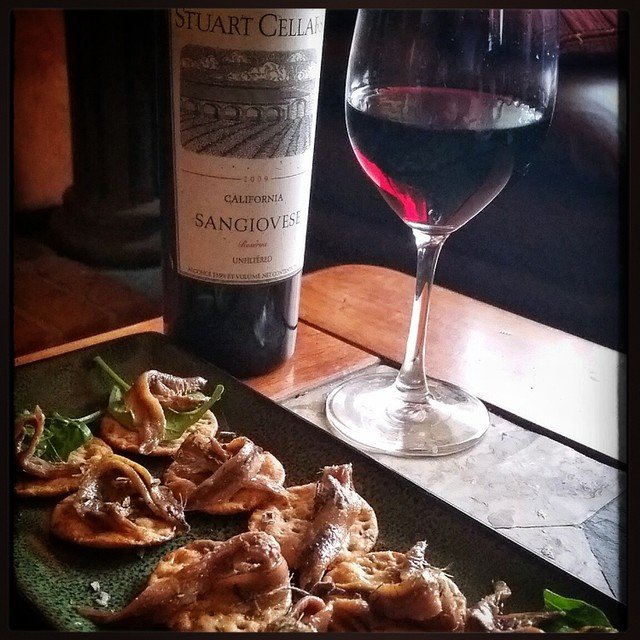 Anchovies and a relatively elderly Sangiovese. A 2009 from when…