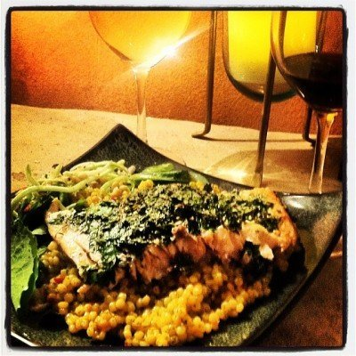 Herb Crusted Salmon, Israeli Cous Cous, Salad, a Chardonnay and a Pinot Noir.