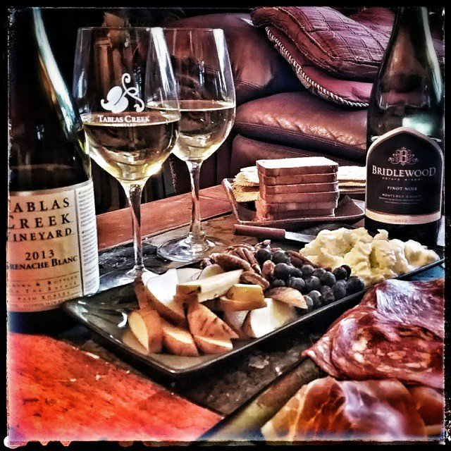 Afternoon snacks with a @tablascreek 2013 Grenache Blanc & a…