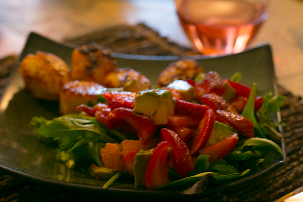 Strawberry Avocado Citrus Salad with Seared Scallops
