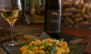 Sweet Potato Gnocchi with Spring Vegetables and an Alsace Riesling