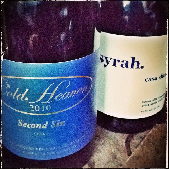 Tonight a side by side with @coldheavencellars  2010 second sin and a 2012 @casadumetzwines syrah!
