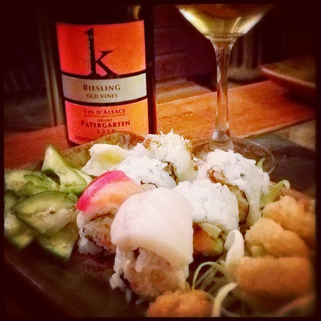 Take out night with Sushi and and Alsace Riesling
