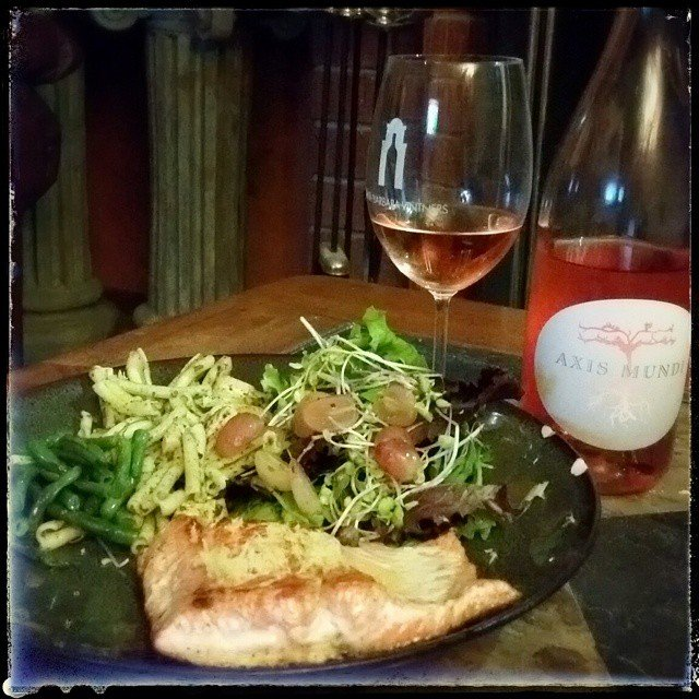 Wild Alaskan salmon and a little Axis Mundi rose.  Thanks Wes!