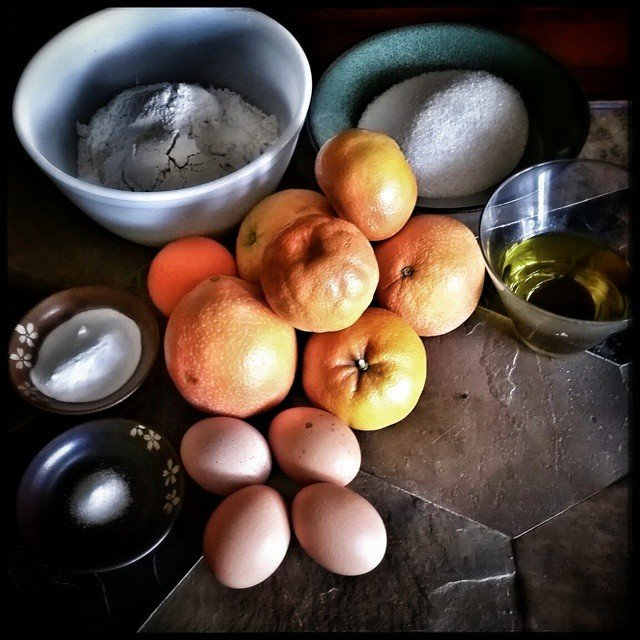 The ingredients for an olive oil citrus cake. Try it…
